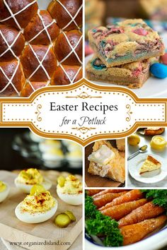 These Easter recipes for a potluck offer side dishes, appetizers and side dishes for Easter brunch or dinner. Family friendly recipes that transport easily.