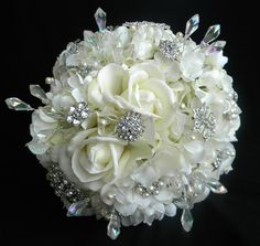 Real Touch Ivory Rose Bridal Bouquet with by BlueLilyBridal, $235.00
