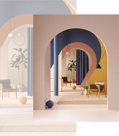 Cars & Arches on Behance Space Interiors, Colorful Interiors, Information Architecture, Contemporary Interior Design, Concept Architecture, Beautiful Space, Interior Design Inspiration, Design Development, Typography Design