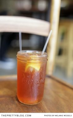 Ice tea served in a Consol jar | Doubleshot Coffee & Tea in Braamfontein | Photographers: Melanie Wessels Photography