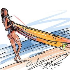 Surf art by Andoni Galdeano Female Surfers, Watercolor Wave, Surfboard Art, I Love The Beach, Painting People, Surf Style, Surf Girls, Surfs Up, Cool Drawings