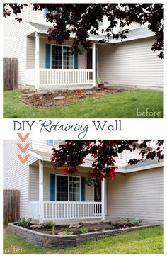 How to build a diy retaining wall to make a drastic change to curb appeal in the cheapest and easiest way in a weekend without needing professionals. Retaining Wall Blocks, Building A Retaining Wall, Concrete Retaining Walls, Landscaping Retaining Walls, Front Yard Landscaping, Landscaping Ideas, Concrete Walls, Outdoor Landscaping, Diy Planter Box