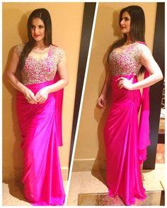 Zareen Khan Wearing a Saree Gown by Sonaakshi Raaj Indian Wedding Gowns, Indian Dresses, Indian Outfits, Designer Sarees Wedding, Designer Dresses, Bridesmaid Saree, Saree Gown, Modern Saree, Oriental Fashion