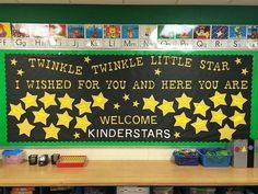Using the Twinkle Twinkle theme is great for this Kindergarten room. Created by the Bulletin Board Queen.