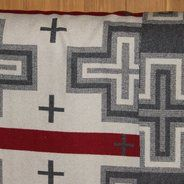 White, Grey & Red Pendleton Fabric at Native Life Pendleton Fabric, Chevrolet Logo, Nativity, Bedroom Ideas, Fabrics, Wool, Sewing, My Love, Grey