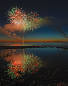 Fabulous sunset over Lake Michigan topped with spectacular fireworks at Bay Harbor.