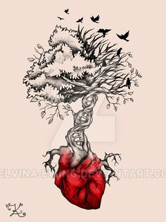 Done on request, this is a version with seasonal foliage and birds. The commissioner wasn't happy with it, so i'm posting it here. If you seriously real. Tree of Life Birds DNA Tattoo Dna Tattoo, Tattoo Life, Body Art Tattoos, New Tattoos, Tattoo Drawings, Sleeve Tattoos, Cool Tattoos, Tatoos, Art Drawings