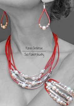 """Choice Of Black, Brown, Green or Red. Made To Order Pearl, Leather & Silver Jewelry Set. """"Pearlfection"""" Earrings, Bracelet, Necklace"""