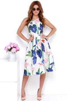 Down the Garden Path Ivory Floral Print Dress