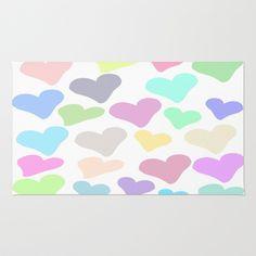 Pastel #Hearts Area & Throw #Rug