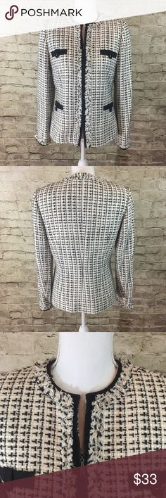 """Tahari Tweed Jacket Black and white fringe tweed jacket with black lining around the seams • fully lined • in excellent preowned condition • viscose/acrylic/cotton blend • approximate measurements laying flat bust 19"""", length 24"""", sleeve length 17"""" Tahari Jackets & Coats"""