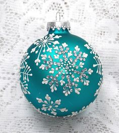 Soft Turquoise Hand Painted 3D MUD Snowflake by MargotTheMUDLady Christmas Ornaments To Make, Christmas Bulbs, Christmas Decorations, Christmas Ideas, Mud Cookies, Hand Painted Ornaments, Glass Ornaments, Craft Show Ideas, Christmas Paintings