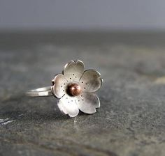 Cherry Blossom Ring Bronze center Sakura Flower by HapaGirls