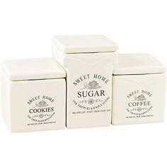 Jogo de 3 Potes para Café, Açúcar e Biscoitos Bon Gourmet 750ml e 930ml
