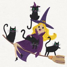 Crazy Cat Witch design (UT15179) from UrbanThreads.com