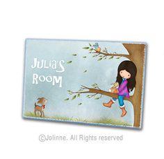 Kids door sign, personalized, children door plaque, personalized gift, nursery art
