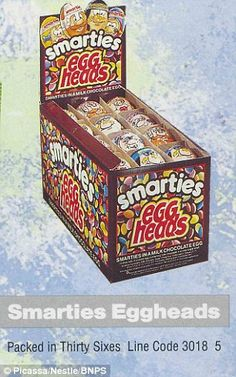 Smarties Eggheads in 1991 are packaged as a smaller Easter treat