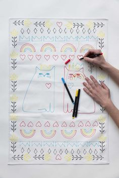Awesome kid friendly DIY project! Use stencils and fabric markers to decorate the two included tea towels! - Cat Love Tea Towel Stencil Kit -