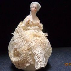 Antique Bisque German Pin Cushion Half Doll Original Lace dress