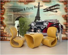 ==> [Free Shipping] Buy Best European Paris style mural wallpaper living room TV background wall paper bedroom sofa wallpaper retro nostalgia classic cars Online with LOWEST Price | 32661026034