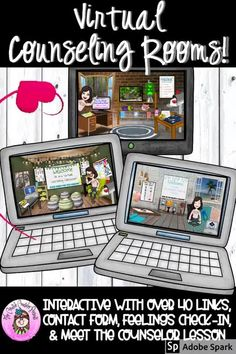 Make distance learning & virtual counseling exciting with these Virtual Counseling Rooms. We have all seen the fun, interactive Bitmoji classrooms, but it takes an enormous amount of time to design & create interactive links for just 1 room! The Virtual Counseling Office, Counseling Classroom, & Calming Corner come pre-linked with over 40 pre-linked objects. #DistanceLearningTpT #Coping #DistanceLearning #Digital #DigitalResources #GoogleSlides #CreativeCounselor #CreativeCounselingResources School Counseling Office, Elementary School Counselor, School Social Work, Elementary Schools, Counseling Psychology, School Psychology, Career Counseling, Virtual Counselor, Counseling Activities