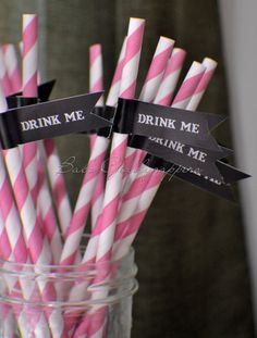 """Pink and Black Paper Straws """"Drink Me,"""" these are PERFECT for a bachelorette party ~ Custom Paper Decor on Etsy"""