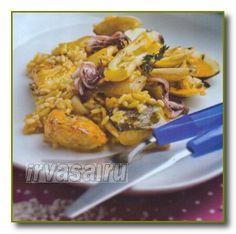 Как приготовить Рис с кальмарами и рыбой. Для приготовления вкусного блюда рис с кальмарами и рыбой берем разные виды рыбы и кальмары.