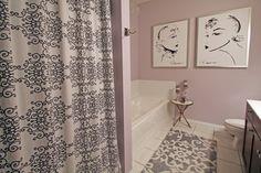 Master Bathroom - contemporary - bathroom - minneapolis - Happy Interiors With the bitch shower curtain ; Mauve Bathroom, Lavender Bathroom, Art Deco Bathroom, Purple Bathrooms, Small Bathroom, Feminine Bathroom, Modern Bathroom, Lavender Walls, Condo Bathroom