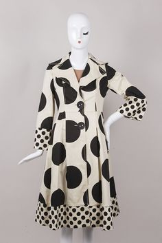 Polka Dot Flared Coat