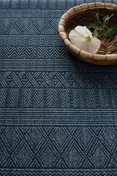 Multiple sisal jacquard patterns woven to create an artisanal effect. Biscayne- Denim By Extra Weave USA!