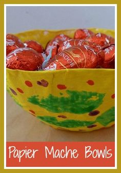 Papier mache gift bowls for Spring or Easter Paper Mache Bowls, Paper Mache Crafts, Paper Plates, Easy Toddler Crafts, Toddler Gifts, Easter Arts And Crafts, Crafts For Kids, Easter Lunch, Easter Activities