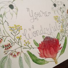 You're Wonderful Australian Native Flowers Watercolour Card by OhLittleSpark on Etsy https://www.etsy.com/listing/256214794/youre-wonderful-australian-native-card
