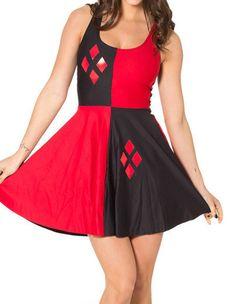 Summer Pretty Harley Quinn Print Fit Flare Jumper Dress