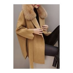 Rotita Khaki Faux Fur Collar Batwing Sleeve Coat (€51) ❤ liked on Polyvore featuring outerwear, coats, khaki, brown wool coat, leather-sleeve coats, long sleeve coat, khaki coat and long khaki coat