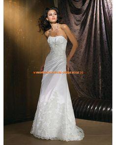 Kaufen online Brautkleider günstig aus Satin mit Schleppe