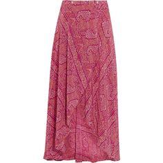 Vix Boho June printed silk crepe de chine wrap maxi skirt ($365) ❤ liked on Polyvore featuring skirts, purple, maxi skirt, long bohemian skirts, beach maxi skirt, boho skirt and purple skirt