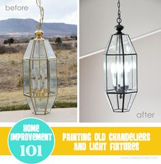 Don't throw away old brass chandeliers or light fixtures......PAINT them!   www.makeit-loveit.com