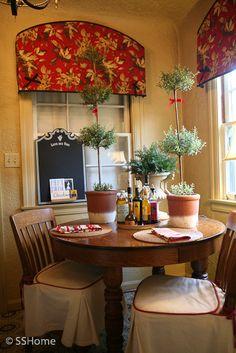 Custom arched valances in Ralph Lauren floral