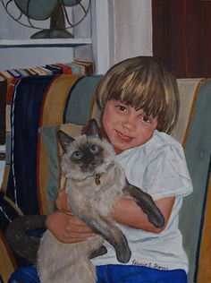 """""""Boy with Cat"""" painting by Patricia Thomas"""