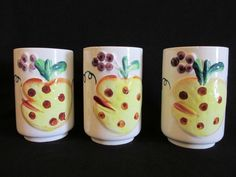 Vintage Pineapple Juice Glasses Set of Three