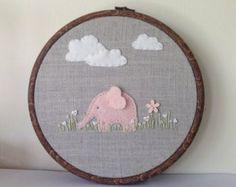 Pink elephant nursery hoop art can be personalised