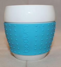 Bodum Pavina Porcelain Small Coffee Mug Sky Blue Silicone Sleeve 237ml 8oz # Bodum