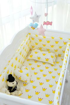 6PCS Baby Crib Bedding Set Package Washable Cotton Ruffle Ultra (bumpers+ Sheet