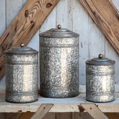 Antique Style Galvanized Tin Canister Set