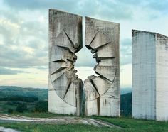 Kadinjaca (photo by Jan Kempenaers) - During the 1960s and 70s, thousands of monuments commemorating the Second World War called 'Spomeniks' were built throughout the former Yugoslavia; striking monumental sculptures, with an angular geometry echoing the shapes of flowers, crystals, and macro-views of viruses or DNA.