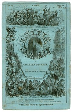 The works of Charles Dickens were issued serially then bound together when complete - the parts had illustrated covers and as well as the text were adverts - both the adverts and covers were removed when the book was bound - this is one of the scarcest states to find a Dicken's novel in  original printed paper covers of part No. IV of Little Dorrit - March 1856