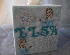 Elsa Plastic Canvas Tissue Box Cover