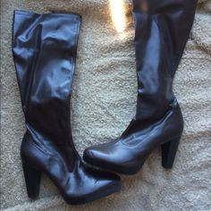 Beautiful Faux Leather Dark Brown Boots! Beautiful boots, hit around mid calf. Dark brown faux leather. Worn maybe twice. Only slightest of wear, see pictures. No PayPal, no trades  Shoes Heeled Boots