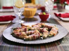 "Smoky Bacon-Wrapped Jalapeño Poppers (It's Getting Hot in Here) - Valerie Bertinelli, ""Valerie's Home Cooking"" on the Food Network. Jalapeno Popper Recipes, Bacon Wrapped Jalapeno Poppers, Stuffed Jalapenos With Bacon, Appetizer Dips, Appetizer Recipes, Keto Recipes, Game Recipes, Chef Recipes, Kitchen Recipes"