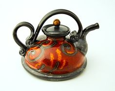 Fire Pottery teapot 20oz, Stoneware teapot, ceramic teapots, ceramics and pottery, red teapot, pottery tea pots